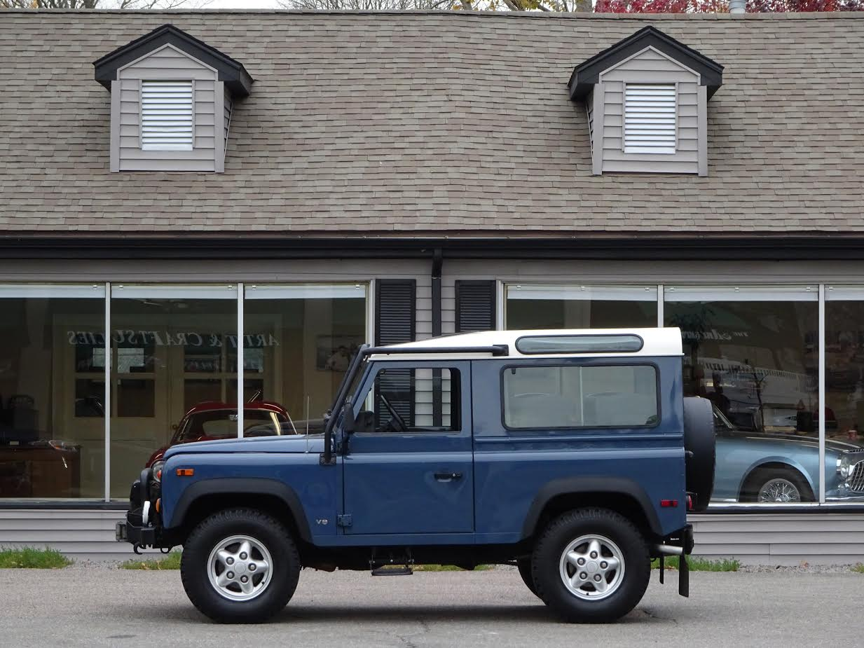 1995 Land Rover Defender 90 Station Wagon 385 500 S N SALDV3289SA980602 Arles Blue With Grey Tweed Cloth Seat Upholstery Full Time 4 Wheel Drive